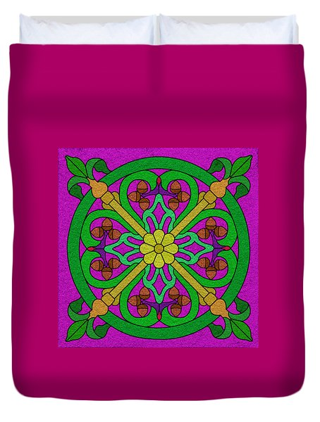 Acorns On Hot Pink Duvet Cover