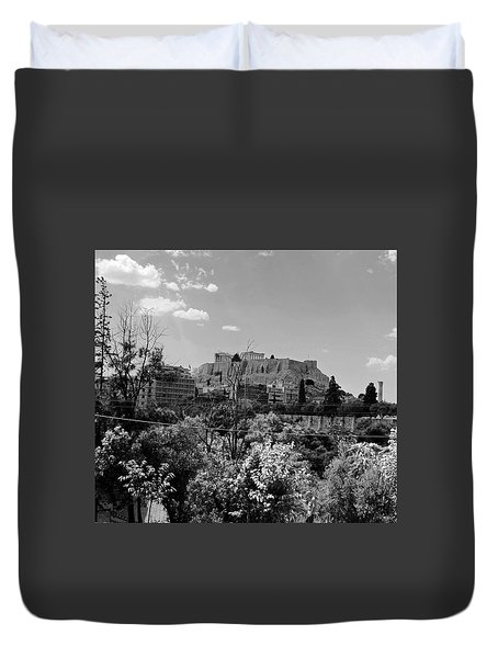 Duvet Cover featuring the photograph Acropolis Black And White by Robert Moss