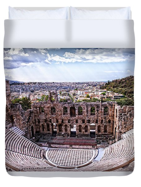 Duvet Cover featuring the photograph Acropolis by Linda Constant