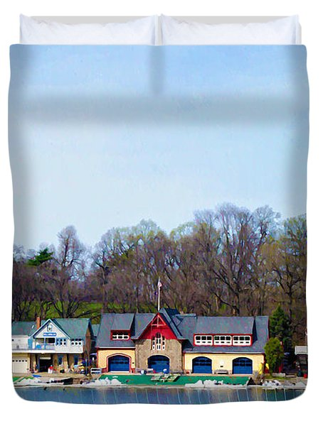 Across From Boathouse Row - Philadelphia Duvet Cover by Bill Cannon