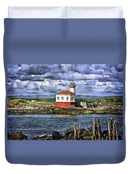 Across From The Coquille River Lighthouse Duvet Cover by Thom Zehrfeld