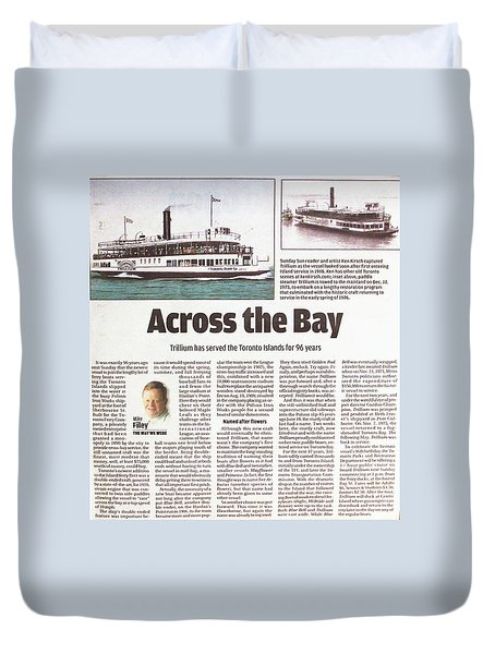 Duvet Cover featuring the painting Toronto Sun Article Across The Bay by Kenneth M Kirsch
