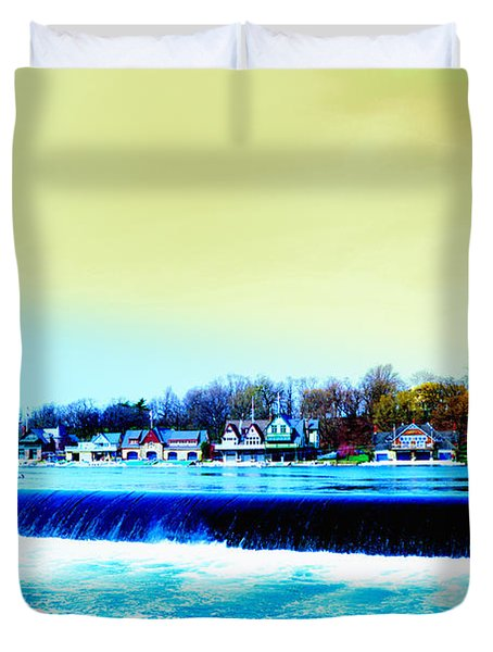 Across The Dam To Boathouse Row. Duvet Cover by Bill Cannon