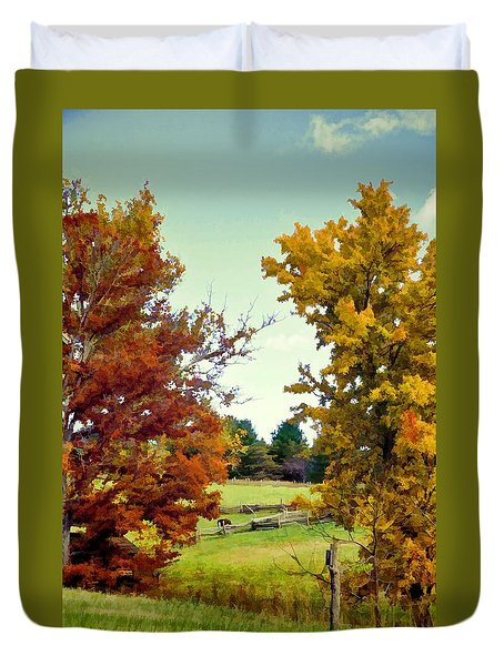 Duvet Cover featuring the photograph Across The Hill by Jan Amiss Photography