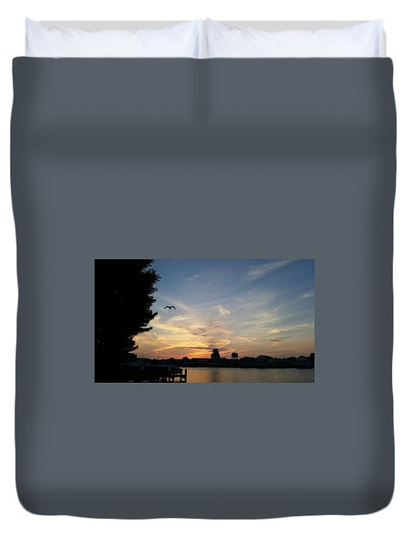 Duvet Cover featuring the photograph Across The Inlet At Dawn by Robert Banach