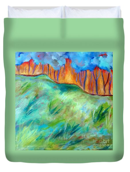 Duvet Cover featuring the painting Across The Meadow by Elizabeth Fontaine-Barr