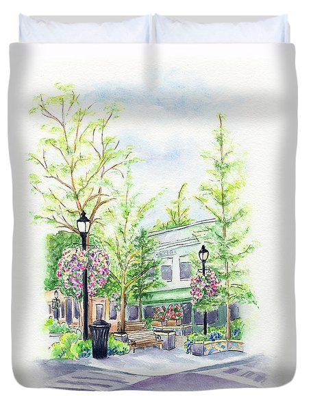 Across The Plaza Duvet Cover
