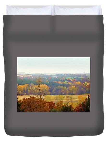 Across The River In Autumn Duvet Cover