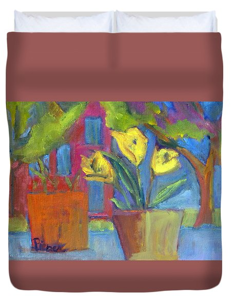 Duvet Cover featuring the painting Across The Street From My Window Sill  by Betty Pieper