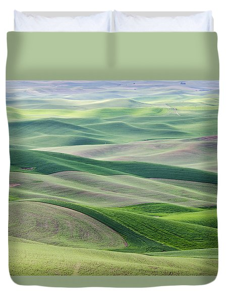 Duvet Cover featuring the photograph Across The Valley by Wanda Krack