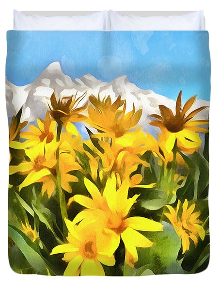 Acrylic Flowers And Mountains Duvet Cover