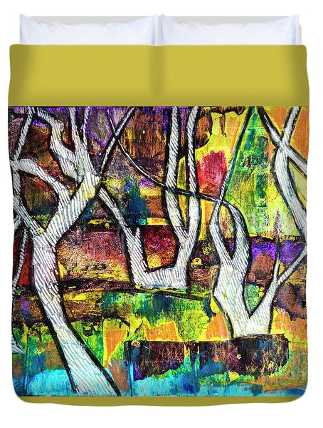 Duvet Cover featuring the painting Acrylic Forest  by Ariadna De Raadt