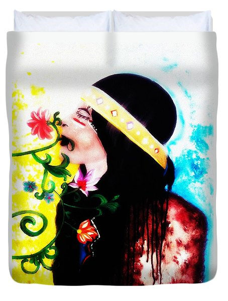 Watercolor Painting Of Ojibwe Indian Princess By Ayasha Loya Duvet Cover by Ayasha Loya