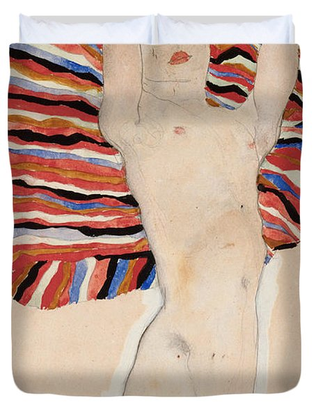 Act Against Colored Material Duvet Cover by Egon Schiele