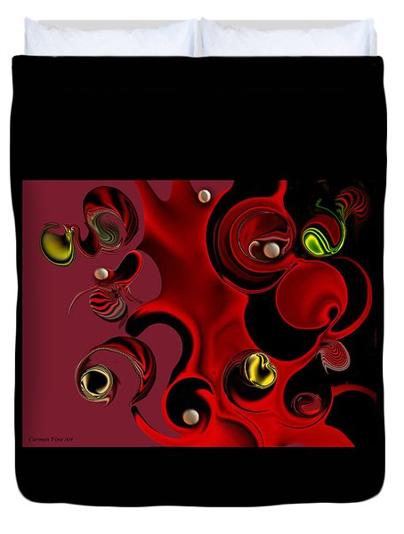 Duvet Cover featuring the digital art Act With Manufactured Energy by Carmen Fine Art