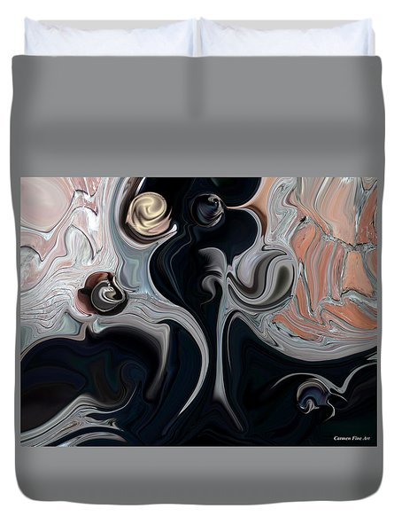 Duvet Cover featuring the digital art Act With Mystic Abstraction by Carmen Fine Art