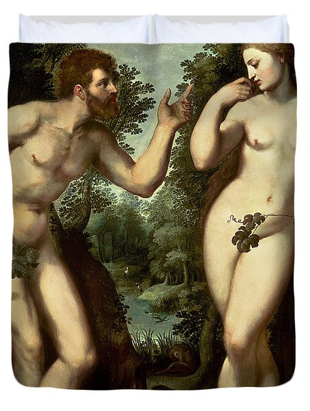 Adam And Eve Duvet Cover by Peter Paul Rubens