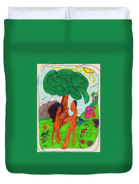 Adam And Eve Duvet Cover by Martin Cline