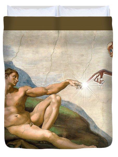 Duvet Cover featuring the digital art Adam's Creation Vrs Et by Gina Dsgn