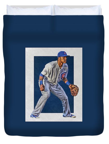 Addison Russell Chicago Cubs Art 2 Duvet Cover