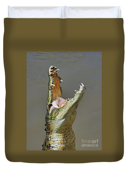 Adelaide River Crocodile Duvet Cover by Bill  Robinson