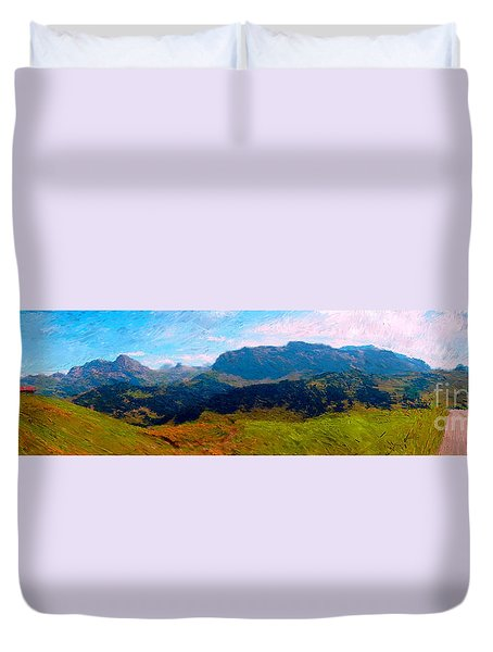 Adelboden With Hiker Duvet Cover