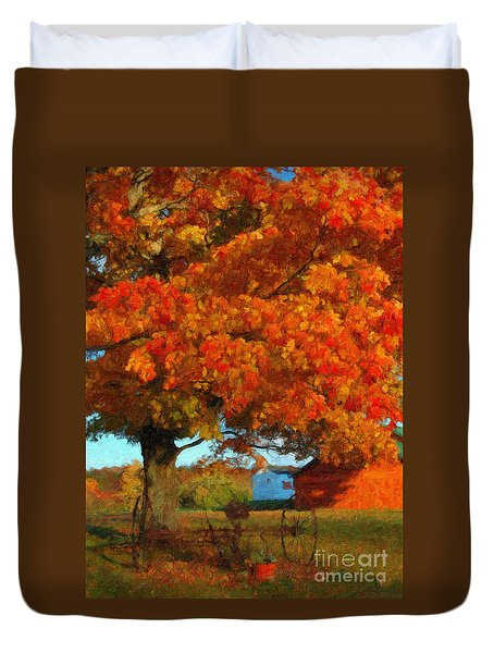Adirondack Autumn Color Brush Duvet Cover by Diane E Berry