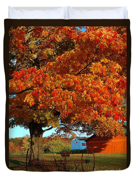 Duvet Cover featuring the photograph Adirondack Autumn Color by Diane E Berry