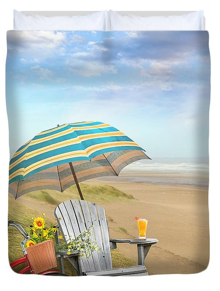 Adirondack Chair With Bicycle And Umbrella By The Seaside Duvet Cover by Sandra Cunningham