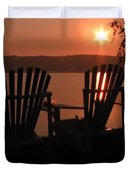 Adirondack Chairs-1 Duvet Cover by Michael Mooney