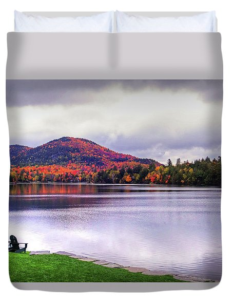 Adirondack Chairs In The Adirondacks. Mirror Lake Lake Placid Ny New York Mountain Duvet Cover