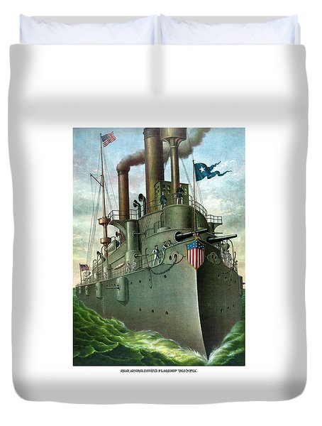Admiral Dewey's Flagship Olympia  Duvet Cover by War Is Hell Store