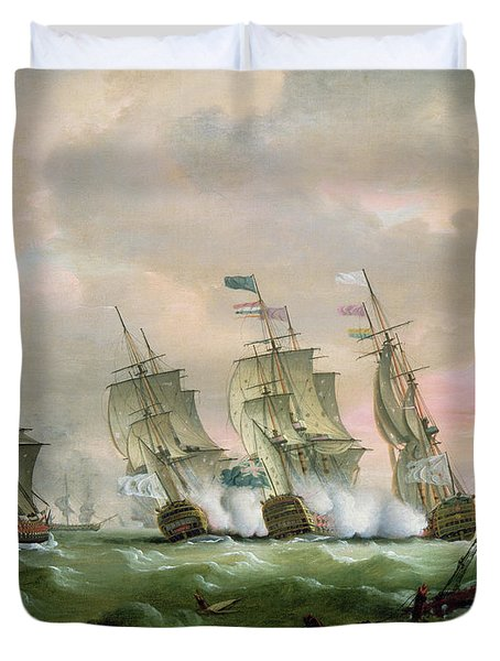 Admiral Sir Edward Hawke Defeating Admiral De Conflans In The Bay Of Biscay Duvet Cover by Thomas Luny