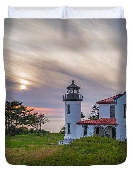 Admiralty Head Light House Sunset  Duvet Cover by Ken Stanback