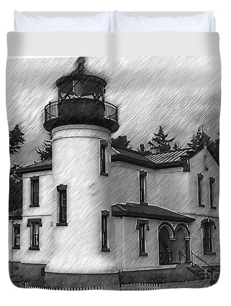 Admiralty Head Lighthouse Sketched Duvet Cover