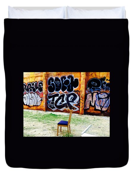 Admiring Barcelona Graffiti Wall Duvet Cover