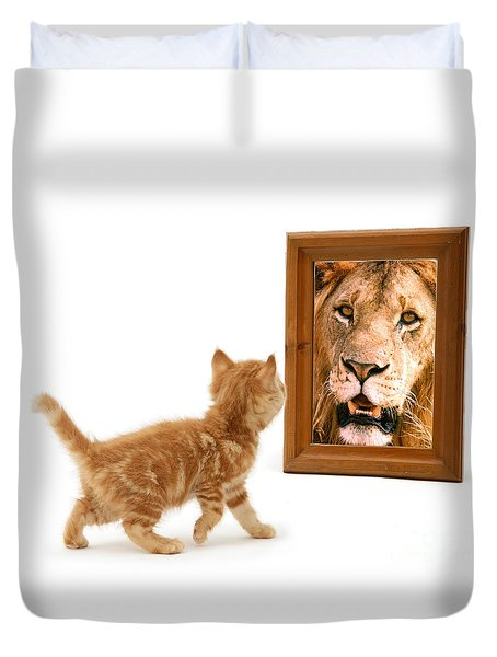 Admiring The Lion Within Duvet Cover