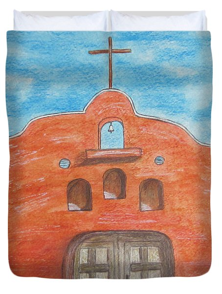Adobe Church And Cactus Duvet Cover