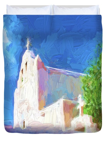 Duvet Cover featuring the digital art Adobe Church by OLena Art Brand