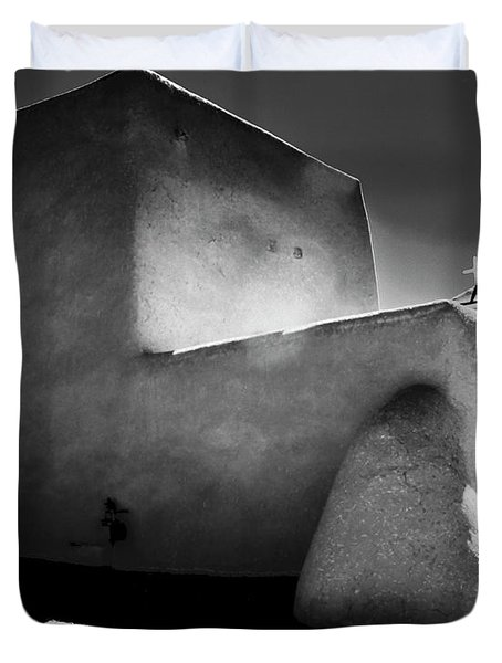 Adobe Church In B-w Duvet Cover