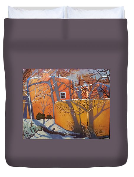 Adobe, Shadows And A Blue Window Duvet Cover by Art West