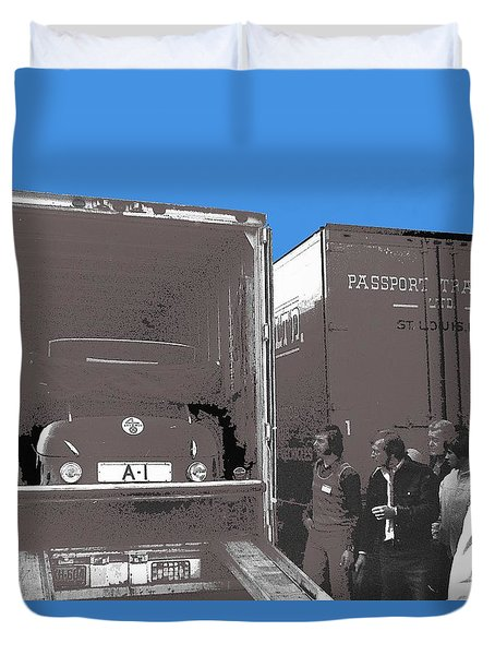 Duvet Cover featuring the photograph Adolf Hitlers  Mercedes Benz 770k Loaded Onto Van For Transport To Lancaster Pa 1973-2016 by David Lee Guss
