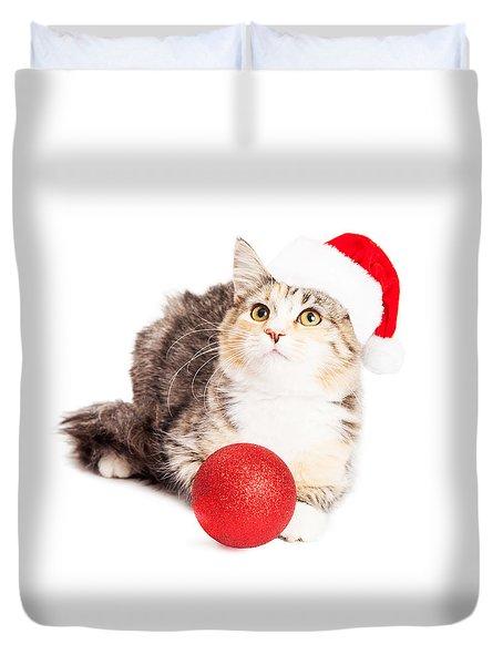 Adorable Calico Christmas Kitten Duvet Cover