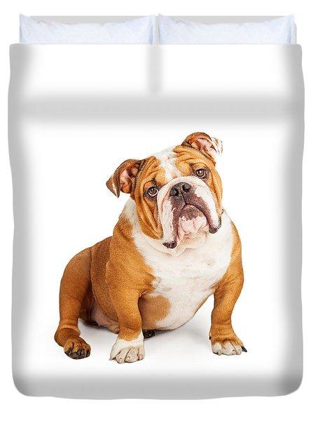 Adorable English Bulldog Looking Into The Camera Duvet Cover