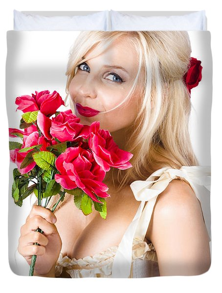Adorable Florist Woman Smelling Red Flowers Duvet Cover by Jorgo Photography - Wall Art Gallery
