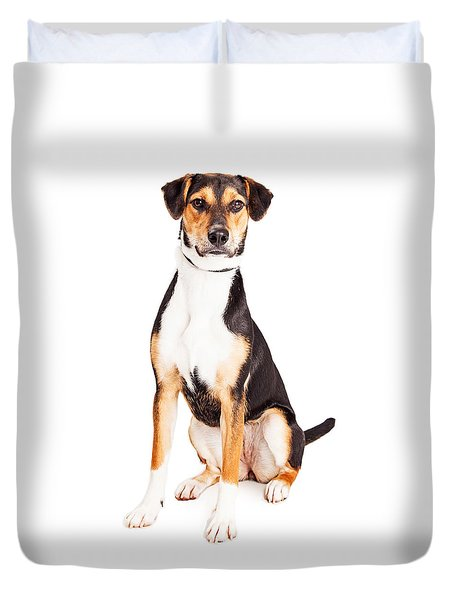 Adorable Young Mixed Breed Puppy Dog Duvet Cover