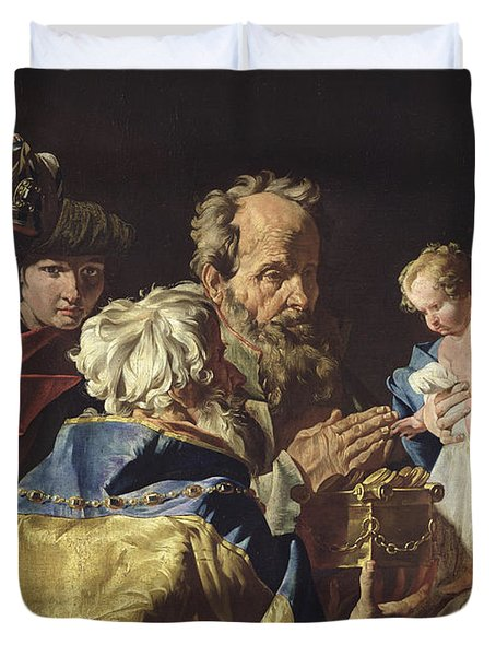 Adoration Of The Magi  Duvet Cover by Matthias Stomer