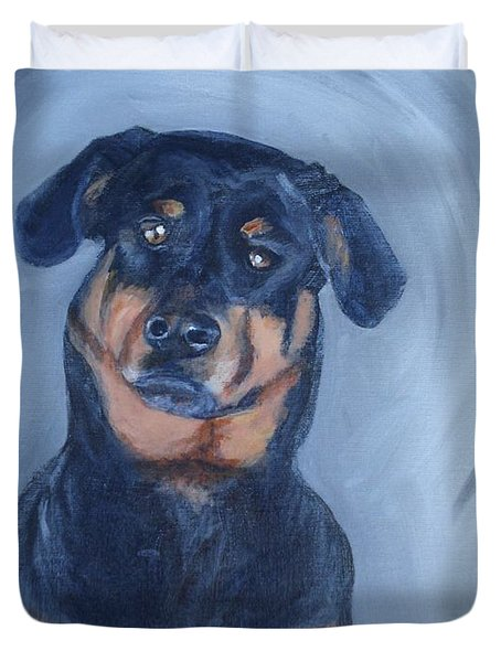 Duvet Cover featuring the painting Adrian by Donna Tuten