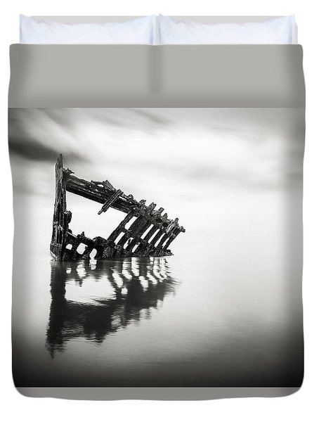 Adrift At Sea In Black And White Duvet Cover
