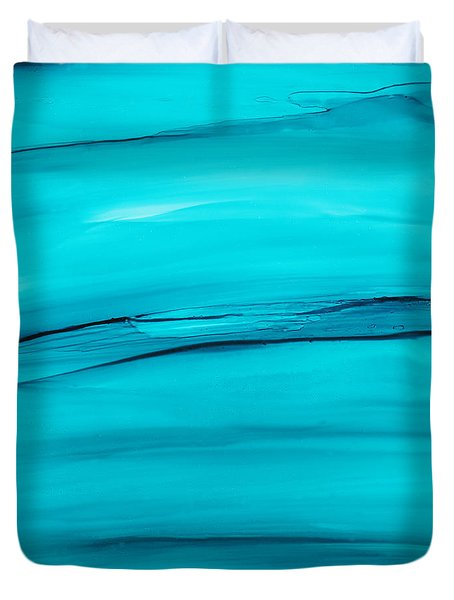 Adrift In A Sea Of Blues Abstract Duvet Cover
